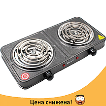Електроплита DOMOTEC MS-5802 подвійна - настільна електрична плита на дві конфорки (2000 Вт) Топ, фото 2
