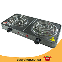 Електроплита DOMOTEC MS-5802 подвійна - настільна електрична плита на дві конфорки (2000 Вт) Топ, фото 3