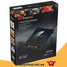 Электроплита DOMOTEC MS-5832 индукционная - настольная электрическая плита 2000 Вт сенсорная, фото 3