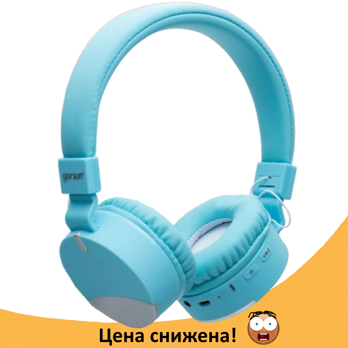 Бездротові навушники Gorsun GS-E86 - Bluetooth стерео навушники з MP3 плеєром і FM радіо (Блакитні) Топ