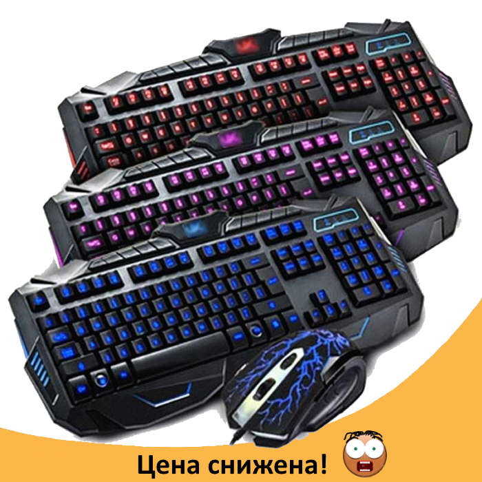 Клавиатура V-100P + мышка - игровой комплект проводная клавиатура с 3-мя подсветками + мышь
