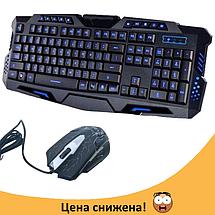 Клавиатура V-100P + мышка - игровой комплект проводная клавиатура с 3-мя подсветками + мышь, фото 2