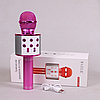 Микрофон караоке Wester WS-858 - беспроводной Bluetooth микрофон для караоке с плеером Розовый, фото 6