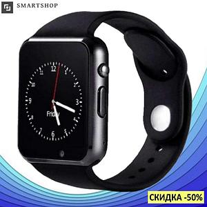 Розумні годинник Smart Watch Phone A1, смарт годинник в стилі Apple Watch Чорні Топ