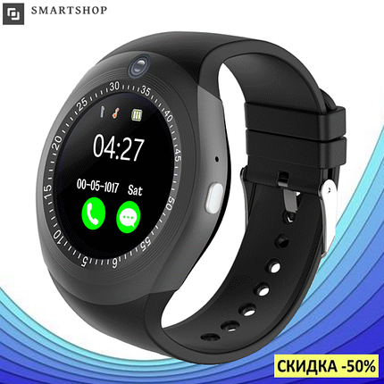 Умные смарт часы Smart Watch Y1S с слотом под SIM карту Черные, фото 2
