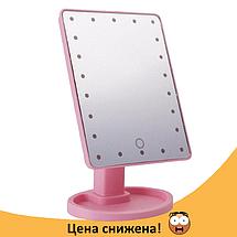 Зеркало для макияжа с LED подсветкой Large Led Mirror - косметическое зеркало на 22 светодиода (Розовое), фото 2