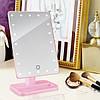 Дзеркало для макіяжу з LED підсвічуванням Large Led Mirror - косметичне дзеркало на 22 світлодіода (Рожеве), фото 6