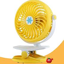 Мини вентилятор USB с прищепкой Mini Fan ML-F168 - вентилятор с аккумулятором на прищепке Желтый, фото 2
