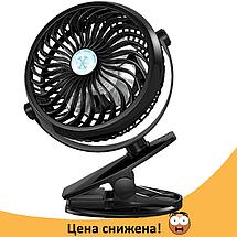 Мини вентилятор USB с прищепкой Mini Fan ML-F168 - вентилятор с аккумулятором на прищепке Черный, фото 2