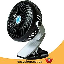 Мини вентилятор USB с прищепкой Mini Fan ML-F168 - вентилятор с аккумулятором на прищепке Черный, фото 3