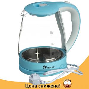 Электрочайник Domotec MS-8214 (2 л / 2200 Вт) Sky Blue - Чайник электрический с LED подсветкой