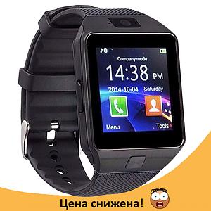 Розумні годинник Smart Watch DZ-09 Black - смарт годинник під SIM-карту і карту SD (Чорні) Топ