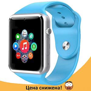 Розумні годинник Smart Watch Phone A1, смарт годинник в стилі Apple Watch Блакитні Топ