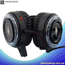 Игровые наушники A5 со светодиодной подсветкой и микрофоном - проводные компьютерные наушники USB, AUX, черные, фото 3