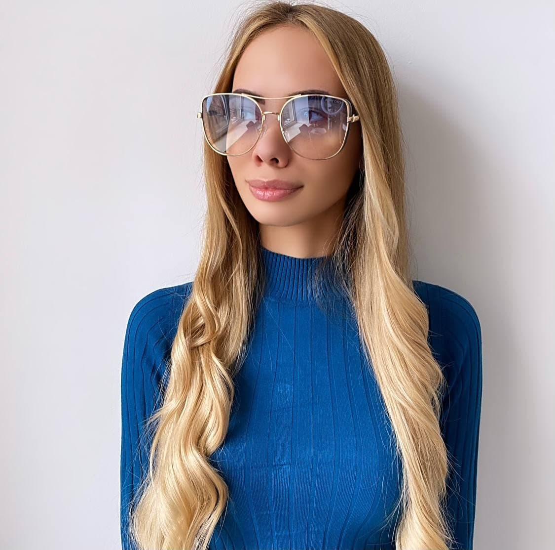 Жіночі блакитні сонцезахисні окуляри