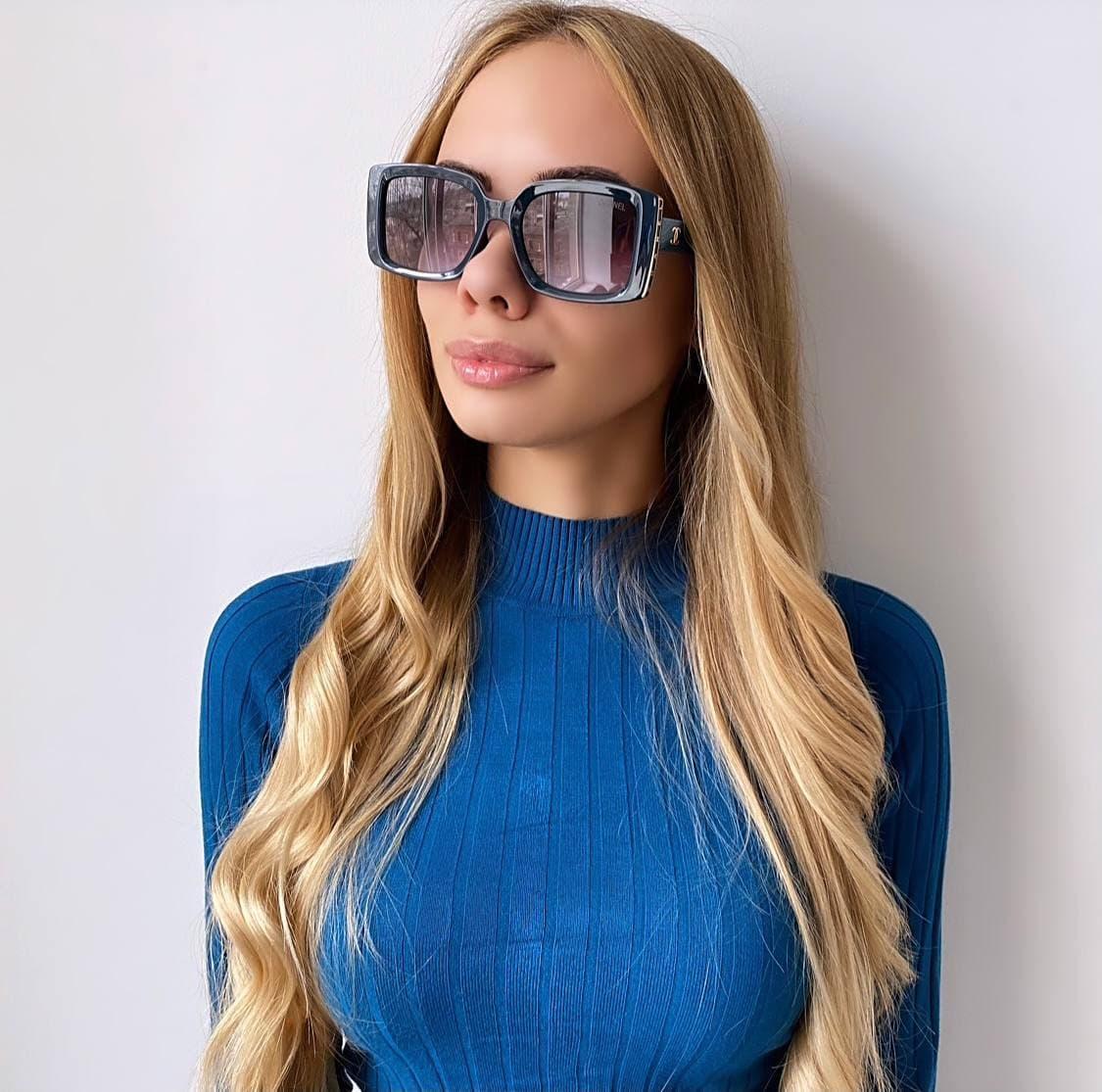 Женские  синие солнцезащитные очки