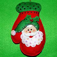 Новогодний Декор ручной работы Варежка Дед Мороз  2533, фото 1