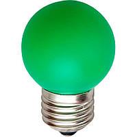 Лампа светодиодная LB-37 G45 230V 1W E27 зелёная