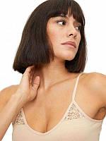 Майка женская Bross Турция XL бельевая нательная под одежду с кружевом хлопок на тонких бретелях телесная 1283