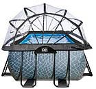 """Басейн EXIT з куполом 400х200х100см """"камінь"""" пісочний фільтр + тепловий насос, фото 3"""