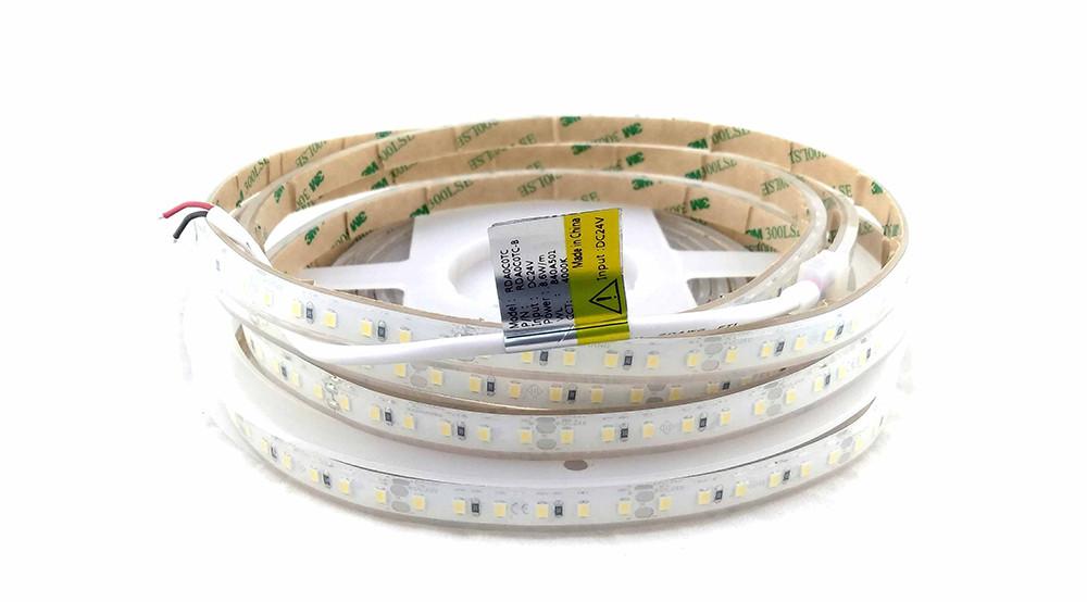 Світлодіодна герметична стрічка 24вольт 8.6 Вт 745лм 2835-120-IP68-NW-10-24 RDA0C0TC-B 4000K CRI80 14274