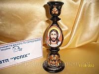 Сувенир Подсвечник деревянный с ручной росписью Иисус