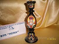 Подсвечник деревянный с ручной росписью Св. Николай