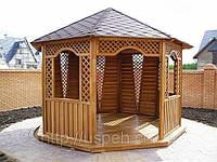 Беседка из бруса деревянная восьмигранная для дачи и сада