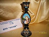Сувенир Подсвечник деревянный с ручной росписью украиночка