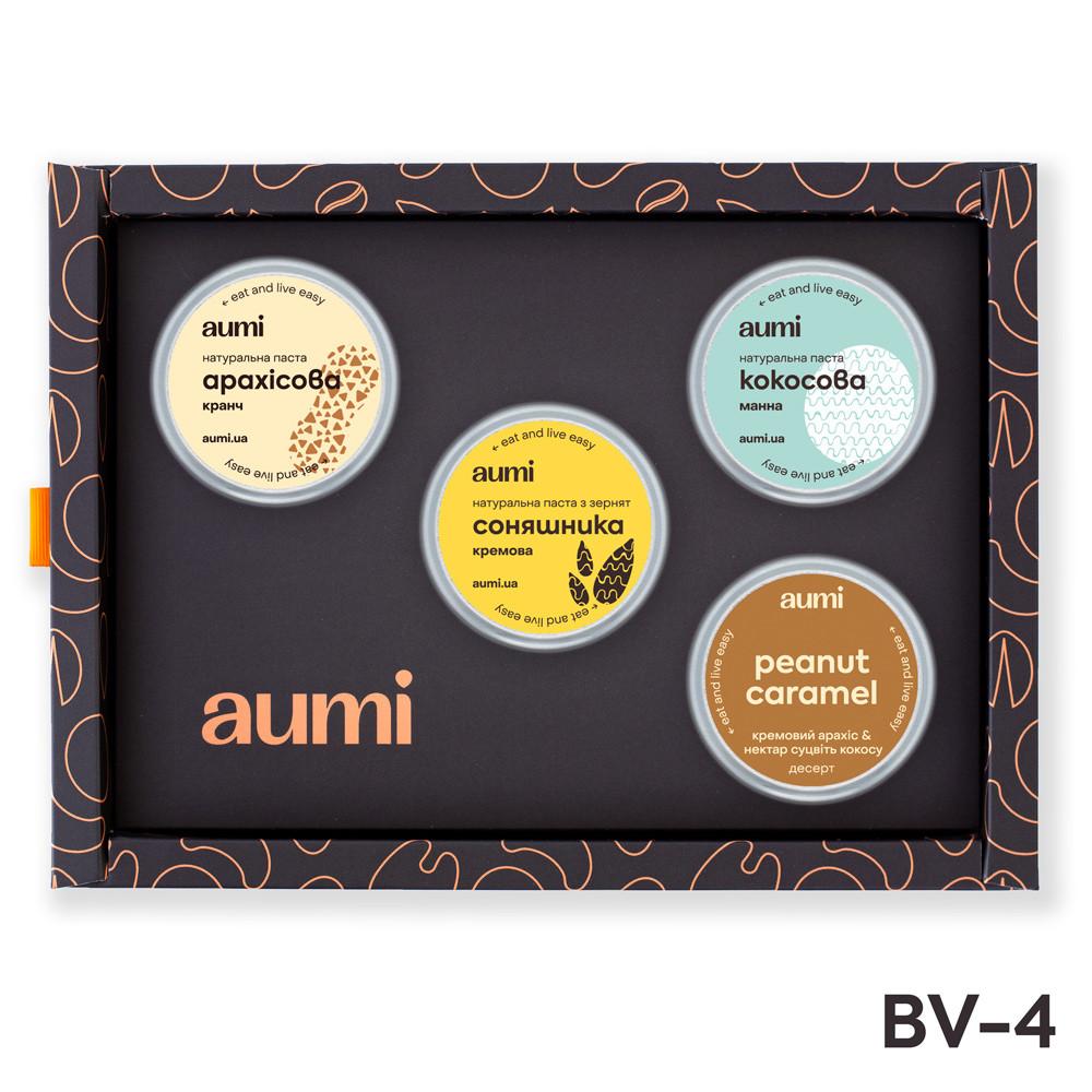 Подарунковий набір BV-4 в коробці, горіхові пасти AUMI арахісова, кокосова, десерт Карамель, з насіння