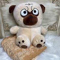 Игрушка подушка с пледом внутри 3 в 1 Собака мопс