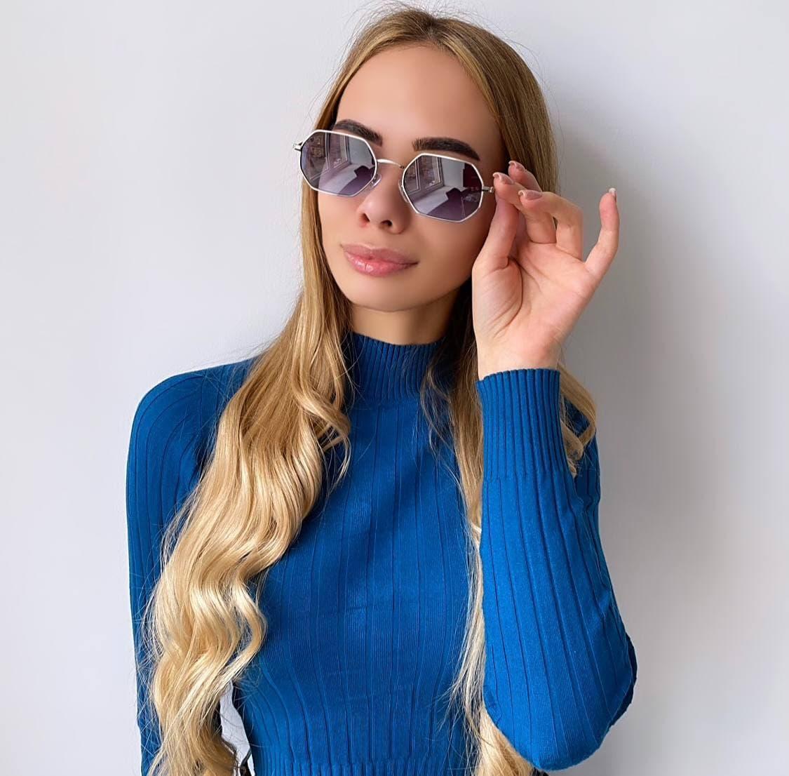 Женские  овальные синие солнцезащитные очки