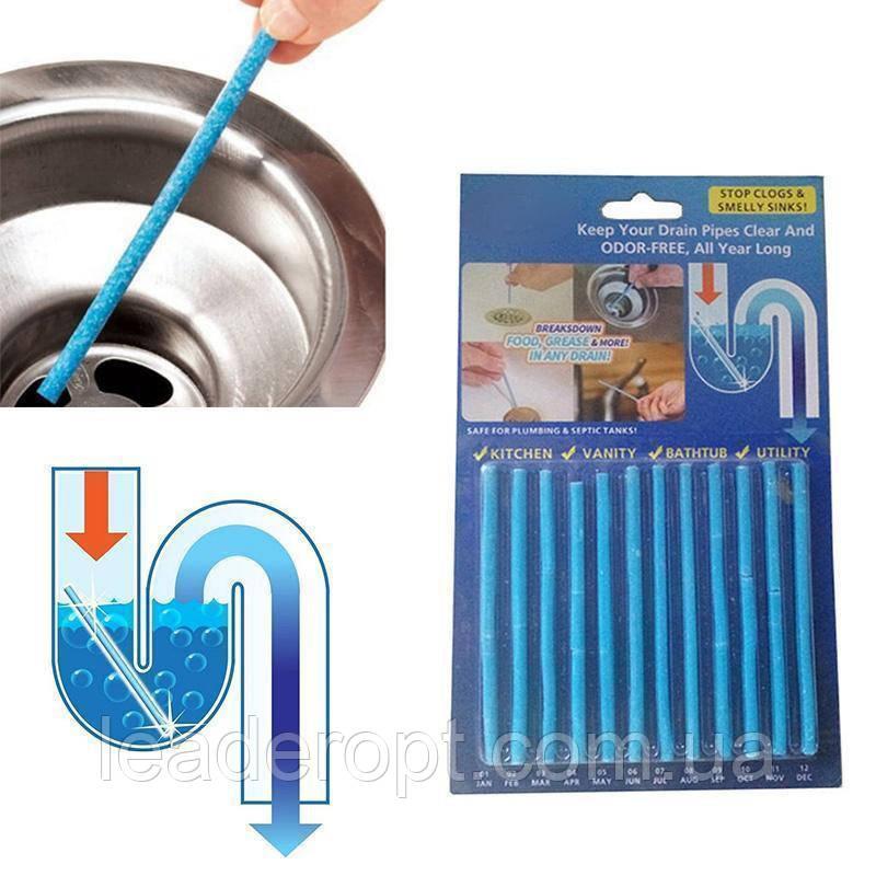 ОПТ Палички від засмічень Sani Sticks 12шт для кухні та ванної кімнати чистка каналізації труб