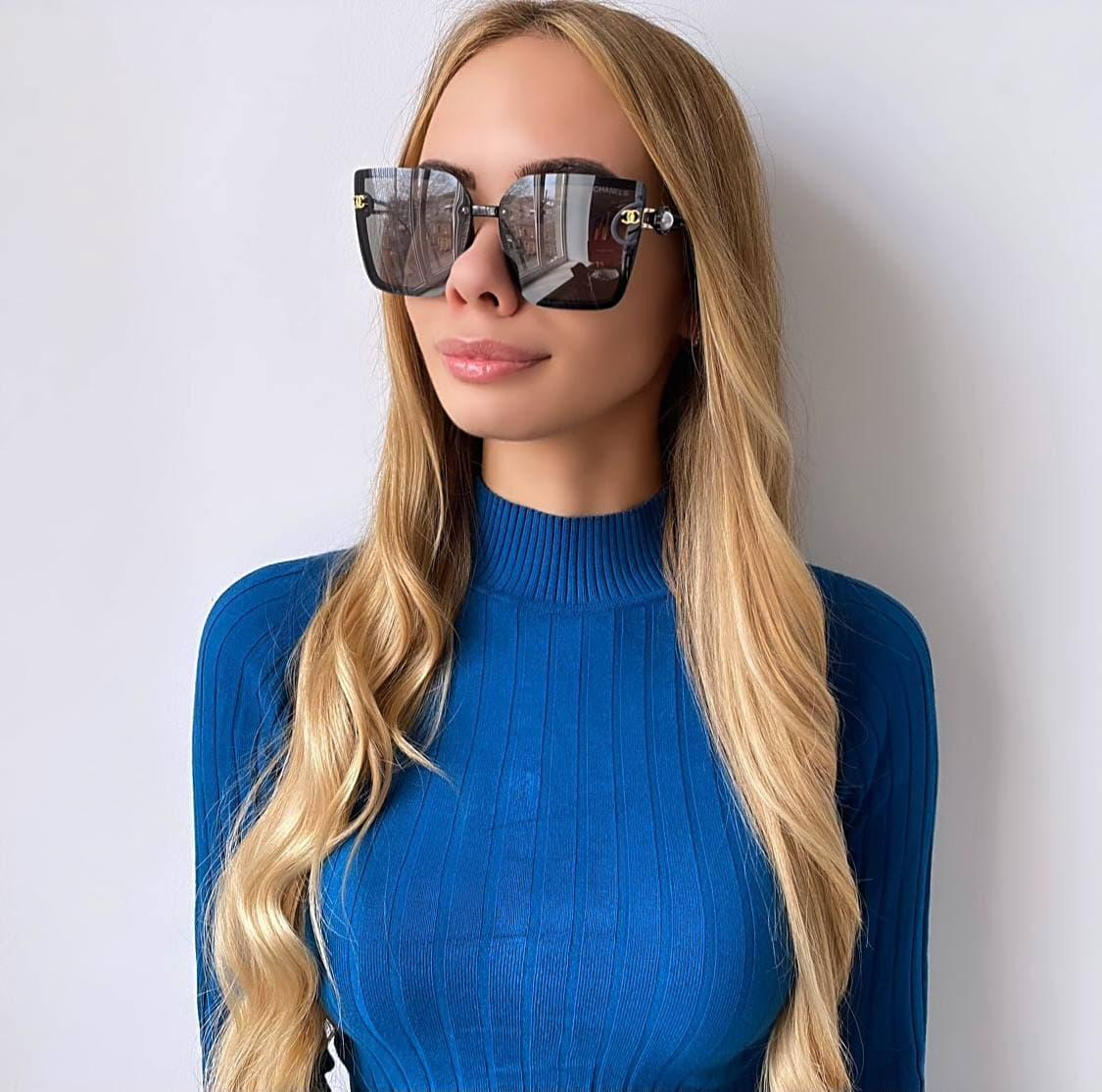 Женские  черные солнцезащитные очки с бусинкой