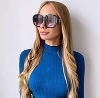 Женские  черные солнцезащитные очки с бусинкой, фото 1