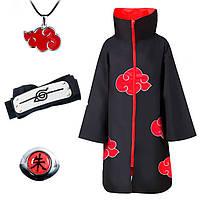 Набор Наруто Акацуки: Плащ Акацуки XL, кольцо Итачи, повязка, кулон Акацуки - Naruto (12304)