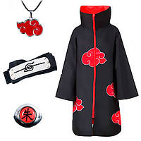 Набор Наруто Акацуки: Плащ Акацуки 155 см, кольцо Итачи, повязка, кулон Акацуки - Naruto (12300)