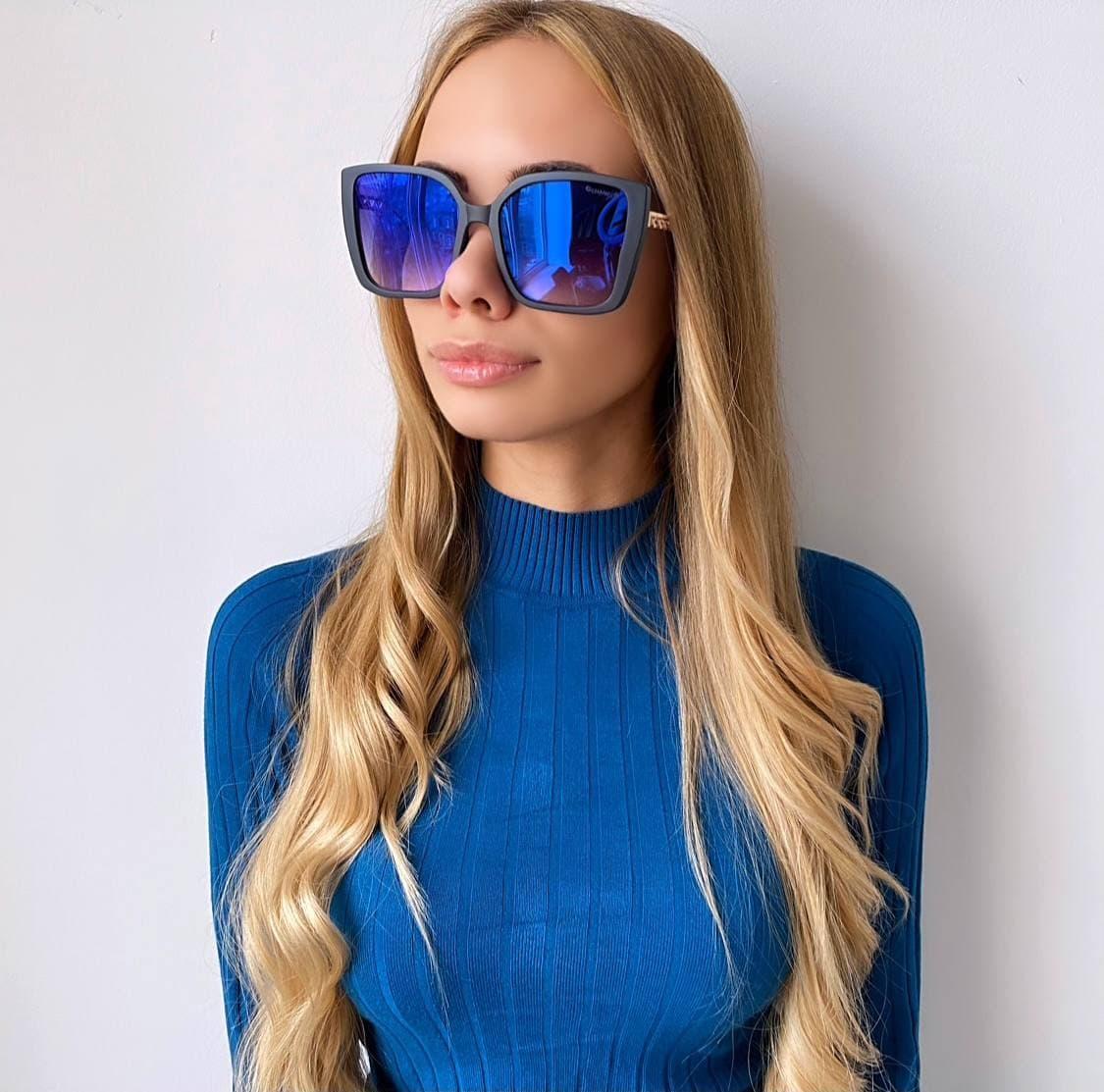 Женские  синие солнцезащитные очки хамелионы
