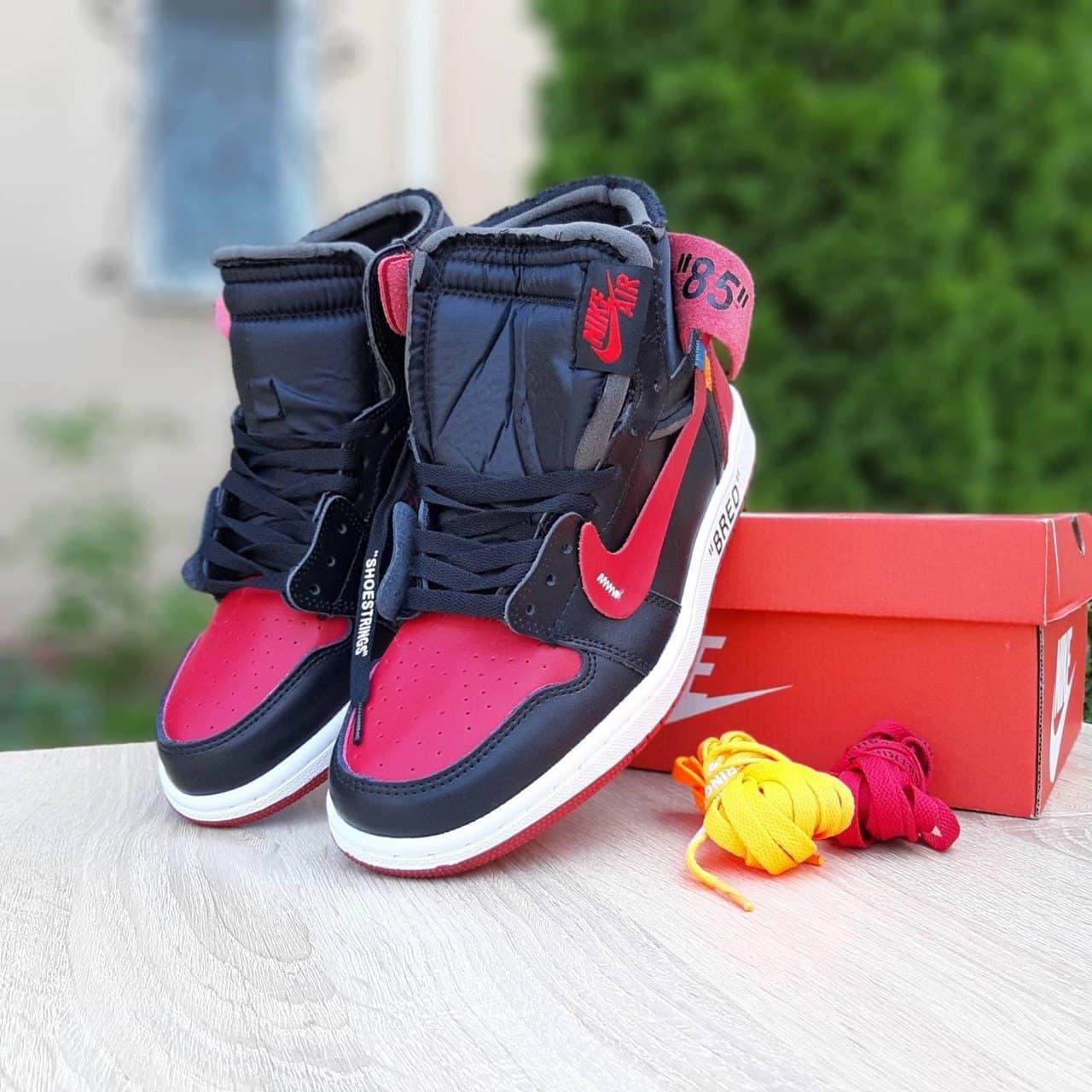 Мужские кроссовки OFF-WHITE х Nike Air Jordan 1 High '85 ' Bred красные с чёрным