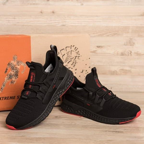 Мужские летние кроссовки BS черные с красными вставками