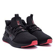 Мужские летние кроссовки BS черные с красными вставками, фото 2