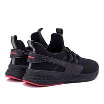 Мужские летние кроссовки BS черные с красными вставками, фото 3
