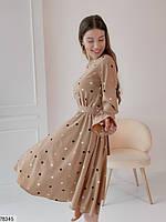 Романтичное женское платье приталенного кроя в горошек с 42 по 48 размер, фото 4