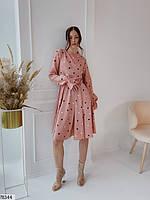 Романтичное женское платье приталенного кроя в горошек с 42 по 48 размер, фото 3
