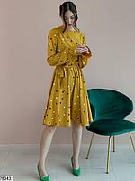 Романтичное женское платье приталенного кроя в горошек с 42 по 48 размер, фото 5