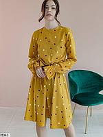 Романтичное женское платье приталенного кроя в горошек с 42 по 48 размер, фото 2