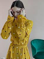 Романтичное женское платье приталенного кроя в горошек с 42 по 48 размер, фото 7