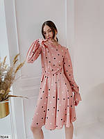 Романтичное женское платье приталенного кроя в горошек с 42 по 48 размер, фото 8