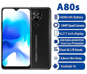 """Смартфон Blackview A80s Black 8 ядер 4\64gb 4200мАч 6.21""""НОВИНКА"""