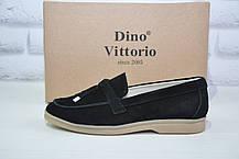 Женские мокасины, лоферы, черные натуральный замш Dino Vittorio